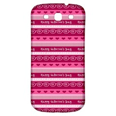 Happy Valentine Day Love Heart Pink Red Chevron Wave Samsung Galaxy S3 S Iii Classic Hardshell Back Case by AnjaniArt