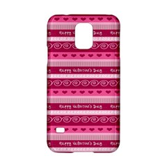 Happy Valentine Day Love Heart Pink Red Chevron Wave Samsung Galaxy S5 Hardshell Case  by AnjaniArt