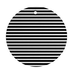 Horizontal Stripes Black Round Ornament (two Sides) by AnjaniArt