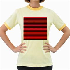 Horizontal Stripes Red Black Women s Fitted Ringer T-Shirts by AnjaniArt