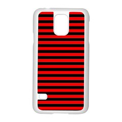 Horizontal Stripes Red Black Samsung Galaxy S5 Case (white) by AnjaniArt