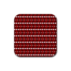 Heart Love Pink Red Wave Chevron Valentine Day Rubber Coaster (square)  by AnjaniArt