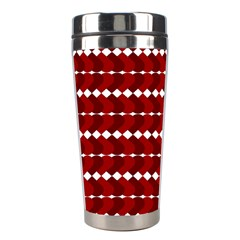 Heart Love Pink Red Wave Chevron Valentine Day Stainless Steel Travel Tumblers by AnjaniArt