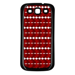 Heart Love Pink Red Wave Chevron Valentine Day Samsung Galaxy S3 Back Case (black) by AnjaniArt