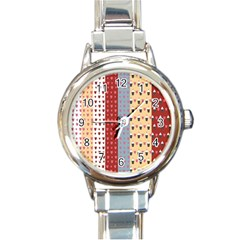 Love Heart Cake Valentine Red Gray Blue Pink Round Italian Charm Watch by AnjaniArt