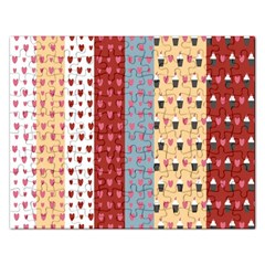 Love Heart Cake Valentine Red Gray Blue Pink Rectangular Jigsaw Puzzl by AnjaniArt