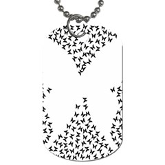 Negative Space Butterflies Black Dog Tag (two Sides) by AnjaniArt