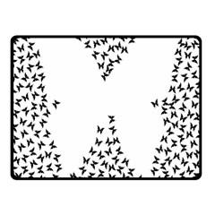 Negative Space Butterflies Black Fleece Blanket (small) by AnjaniArt