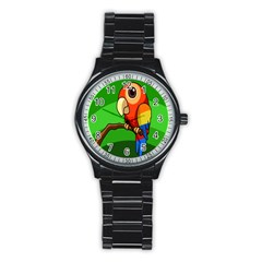 Parrots Pinterest Stainless Steel Round Watch by AnjaniArt