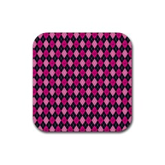Pink Baby Showers Skull Chevron Wave Pink Purple Black Pink Rubber Square Coaster (4 Pack)  by AnjaniArt