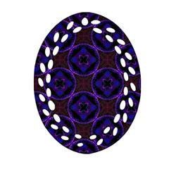 Background Colour Blue Flower Ornament (oval Filigree) by AnjaniArt