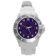 Background Colour Blue Flower Round Plastic Sport Watch (l) by AnjaniArt