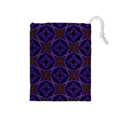 Background Colour Blue Flower Drawstring Pouches (medium)