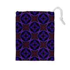 Background Colour Blue Flower Drawstring Pouches (large)  by AnjaniArt