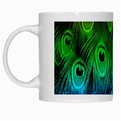 Peacock Feathers Rainbow White Mugs by AnjaniArt