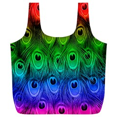 Peacock Feathers Rainbow Full Print Recycle Bags (l)