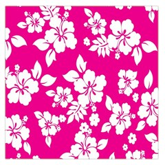 Pink Hawaiian Flower Large Satin Scarf (square) by AnjaniArt
