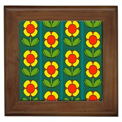 Retro Flowers Floral Rose Framed Tiles