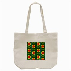 Retro Flowers Floral Rose Tote Bag (cream) by AnjaniArt