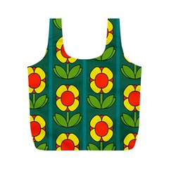 Retro Flowers Floral Rose Full Print Recycle Bags (m)  by AnjaniArt