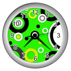 Florescent Green Yellow Abstract  Wall Clocks (silver)  by OCDesignss