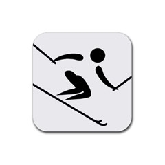 Alpine Skiing Pictogram  Rubber Square Coaster (4 Pack)  by abbeyz71