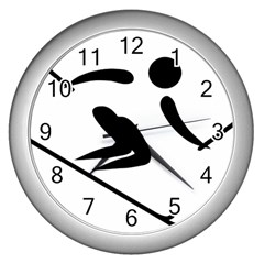 Alpine Skiing Pictogram  Wall Clocks (silver)  by abbeyz71