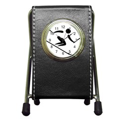 Alpine Skiing Pictogram  Pen Holder Desk Clocks by abbeyz71