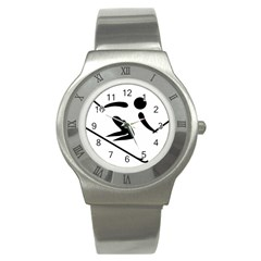 Alpine Skiing Pictogram  Stainless Steel Watch by abbeyz71