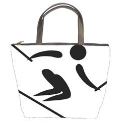 Alpine Skiing Pictogram  Bucket Bags by abbeyz71