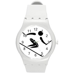 Alpine Skiing Pictogram  Round Plastic Sport Watch (m) by abbeyz71