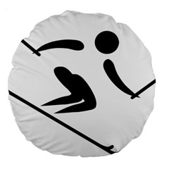 Alpine Skiing Pictogram  Large 18  Premium Round Cushions by abbeyz71