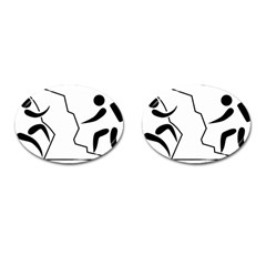 Mountaineering Climbing Pictogram  Cufflinks (oval) by abbeyz71