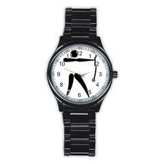 Archery (compound) Pictogram Stainless Steel Round Watch by abbeyz71