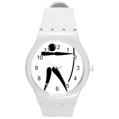 Archery Pictogram Round Plastic Sport Watch (m) by abbeyz71