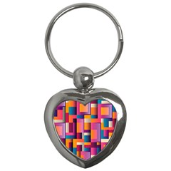 Abstract Background Geometry Blocks Key Chains (heart)  by Amaryn4rt