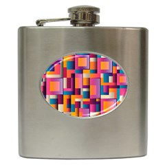 Abstract Background Geometry Blocks Hip Flask (6 Oz) by Amaryn4rt