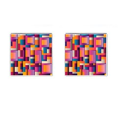 Abstract Background Geometry Blocks Cufflinks (square) by Amaryn4rt
