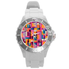 Abstract Background Geometry Blocks Round Plastic Sport Watch (l) by Amaryn4rt