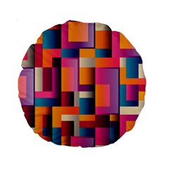 Abstract Background Geometry Blocks Standard 15  Premium Round Cushions by Amaryn4rt
