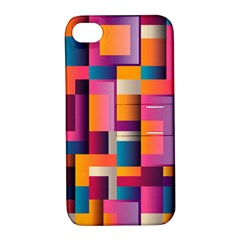 Abstract Background Geometry Blocks Apple Iphone 4/4s Hardshell Case With Stand by Amaryn4rt