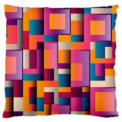 Abstract Background Geometry Blocks Large Flano Cushion Case (one Side) by Amaryn4rt