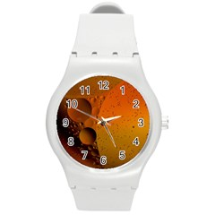 Abstraction Color Closeup The Rays Round Plastic Sport Watch (m) by Amaryn4rt