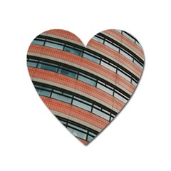 Architecture Building Glass Pattern Heart Magnet by Amaryn4rt
