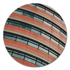 Architecture Building Glass Pattern Magnet 5  (round) by Amaryn4rt