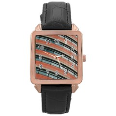Architecture Building Glass Pattern Rose Gold Leather Watch
