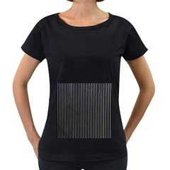 Background Lines Design Texture Women s Loose-Fit T-Shirt (Black) by Amaryn4rt