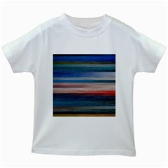 Background Horizontal Lines Kids White T Shirts by Amaryn4rt