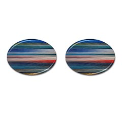 Background Horizontal Lines Cufflinks (oval) by Amaryn4rt