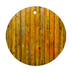 Background Wood Lath Board Fence Round Ornament (Two Sides) by Amaryn4rt